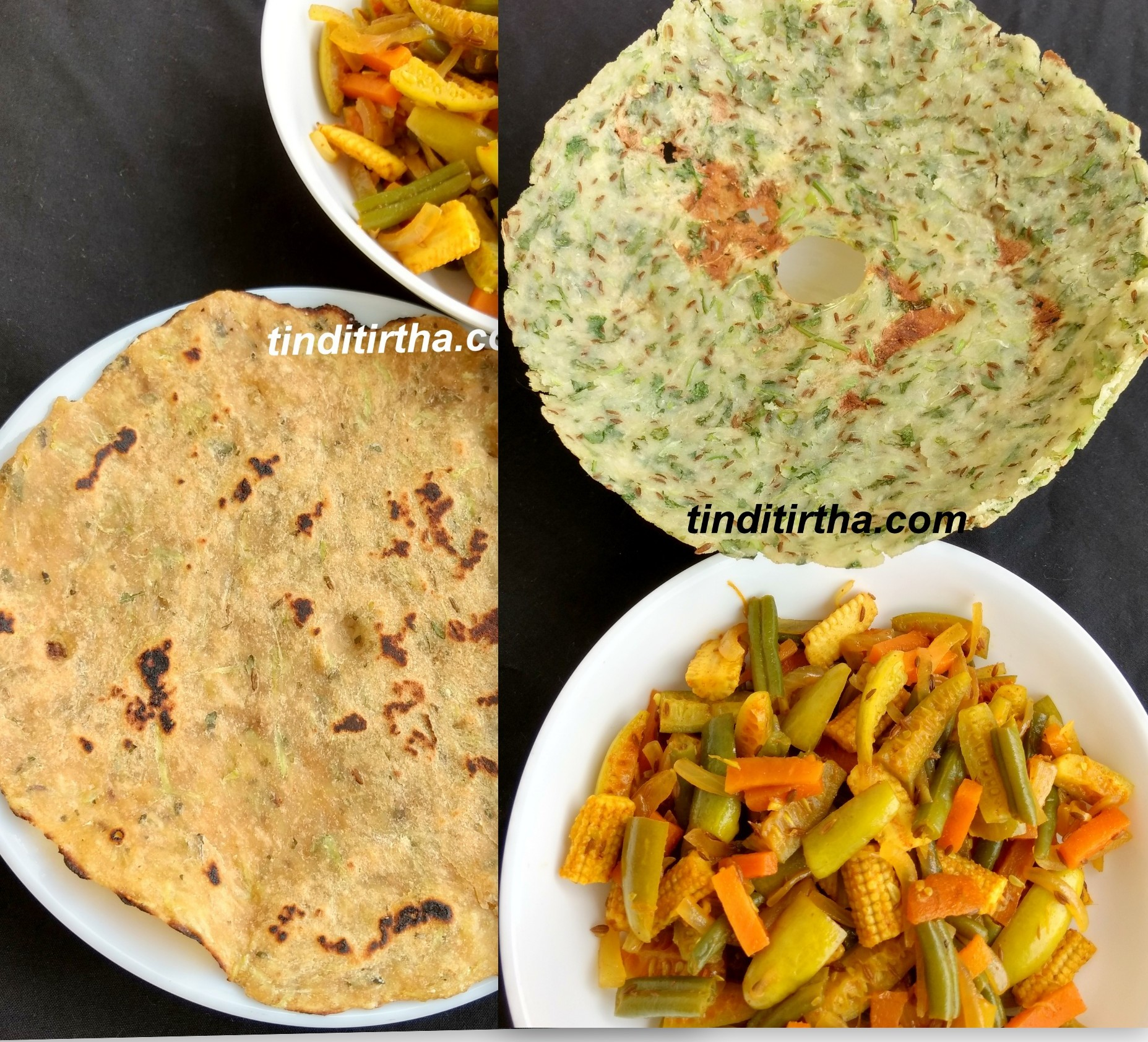 WHOLE WHEAT FLOUR / RICE FLOUR – BOTTLE GOURD ROTTI (ROTI)
