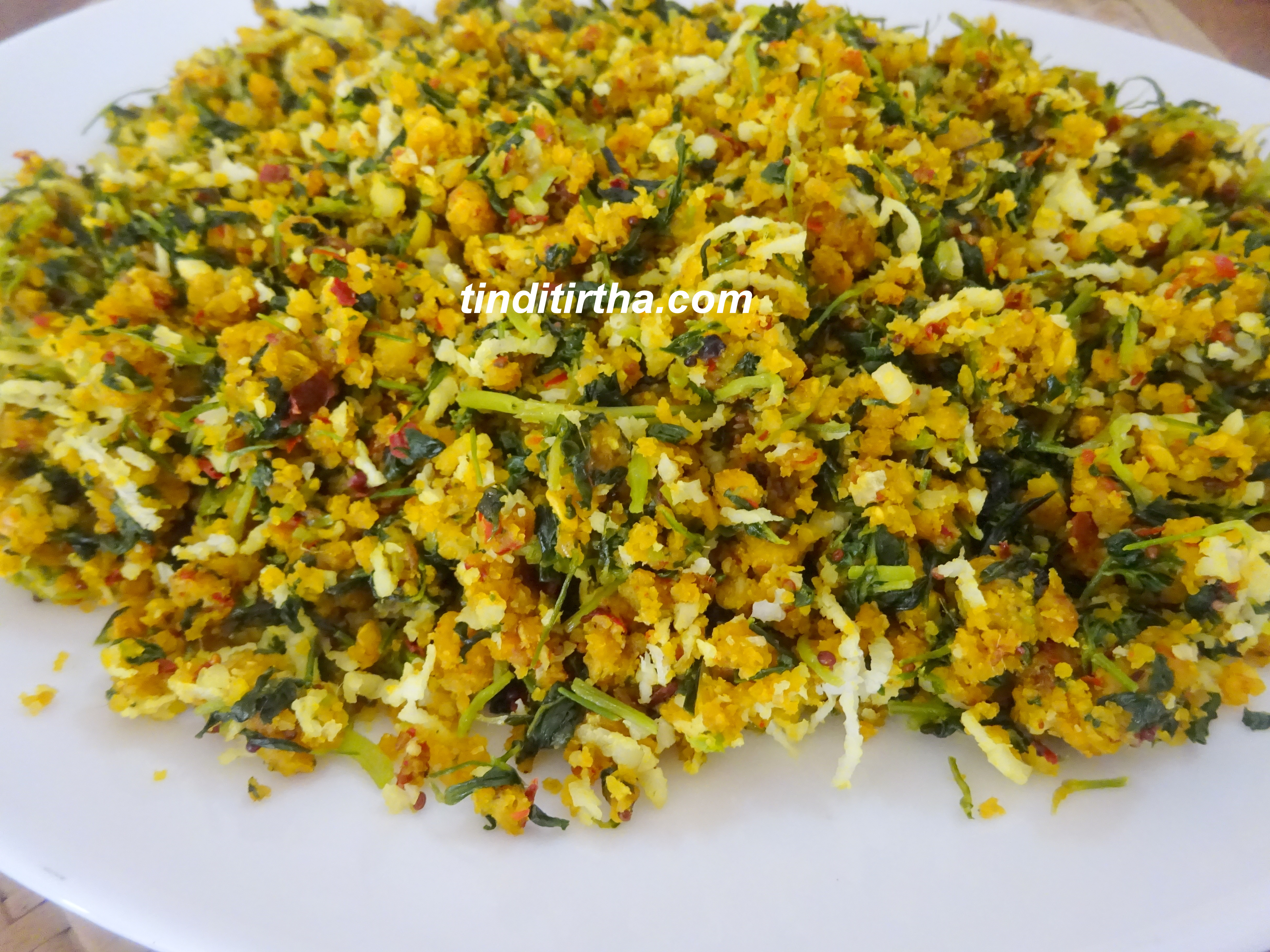 MENTHYA SOPPINA MATAWADI PALYA (PIGEON PEA-FENUGREEK LEAVES STEAMED SUBJI)