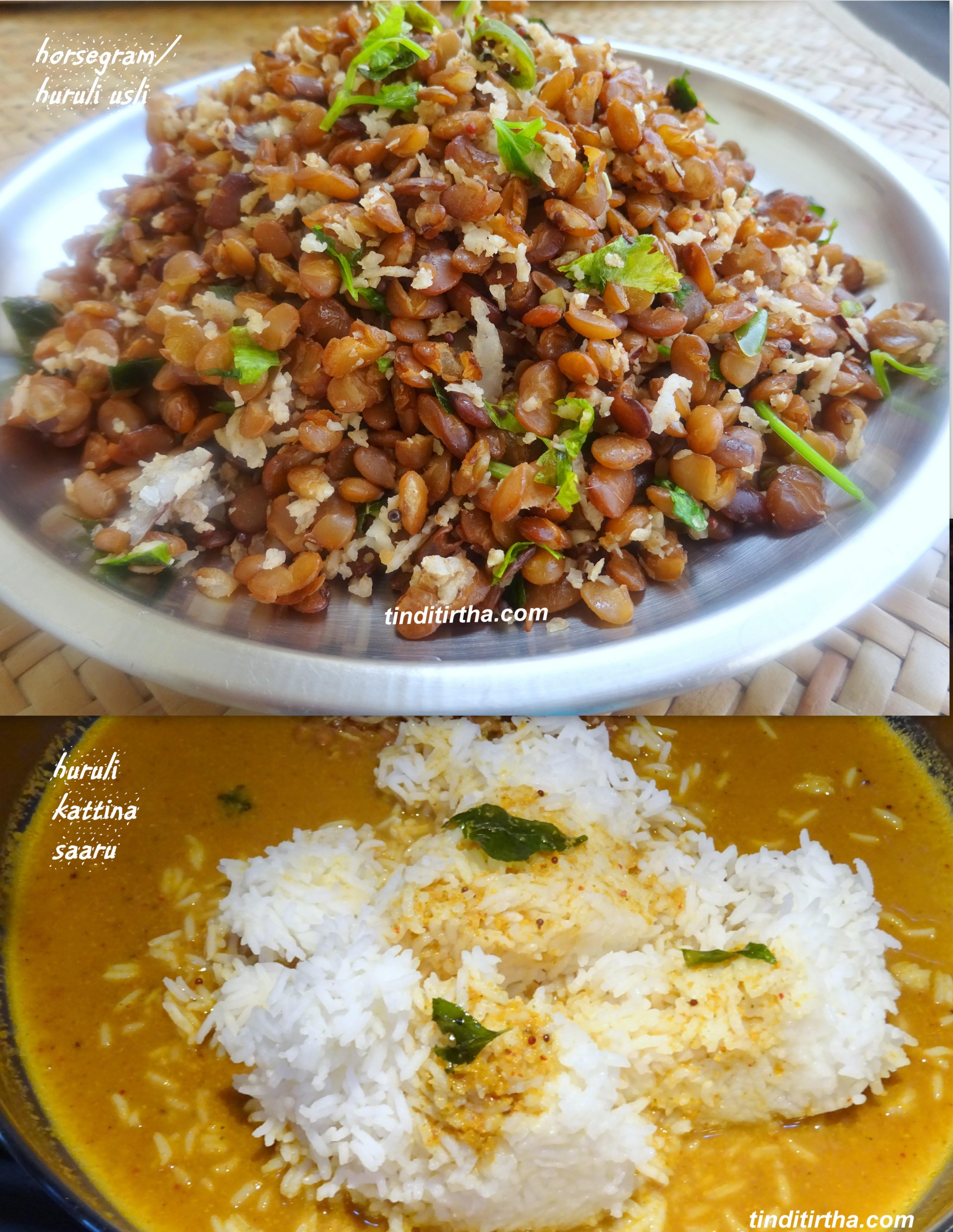 HURALI KATTINA SAARU & USLI……..horse gram/kulthi rasam & salad