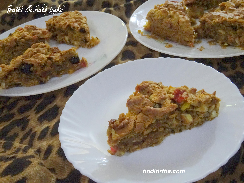 FRUITS & NUTS CAKE…….. eggless, alcohol free, wheat flour christmas fruit cake
